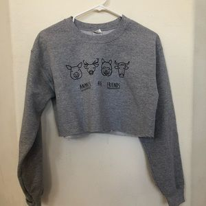 Sweaters - Animals are Friends crop sweater
